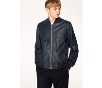 Dark Navy Leather Bomber Jacket