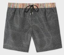 Black Geometric Print Swim Shorts