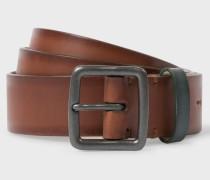 Brown Burnished Leather Belt