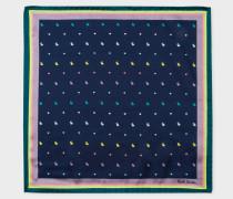 Navy 'Rabbit And Heart' Striped Border Silk Pocket Square