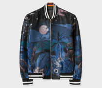 Blue 'Midnight' Jacquard Cotton-Blend Bomber Jacket