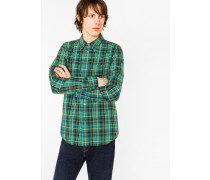 Tailored-Fit Green Check Shirt