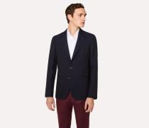 Tailored-Fit Dark Navy 'Diamond Dot' Pattern Wool Blazer