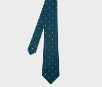 Petrol Embroidered Rabbit Motif Silk Tie