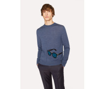 Slate Blue Merino Wool Sweater With 'Sunglasses' Intarsia