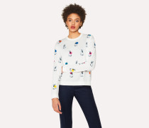 White 'Rabbit' Print Sweater With Polka Dots