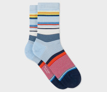 Light Blue Block-Stripe Socks