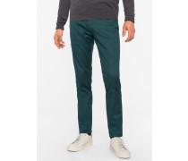 Slim-Fit Dark Green Stretch-Cotton Twill Trousers
