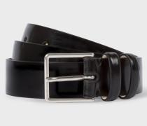 Black High-Shine Leather Double Keeper Belt