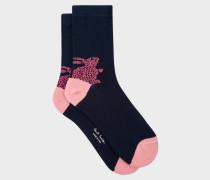 Navy 'Rabbit' Motif Socks