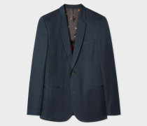 Mid-Fit Navy Buggy-Lined Cotton-Linen Blazer