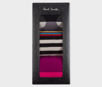 Black Mixed-Stripe And Polka Dot Socks Three Pack