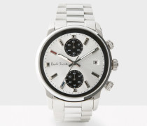 White And Silver 'Block' Chronograph Watch