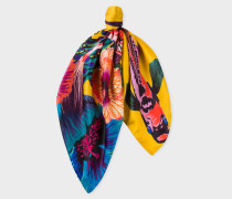 Yellow 'Ocean' Motif Silk Neckerchief