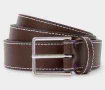 Chocolate Brown Leather 'Geometric Mini' Belt