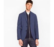 Slim-Fit Navy And Slate Blue Check Wool-Blend Blazer