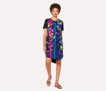 Navy 'Floral Stripes' Print Jersey Dress