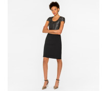 Black Wool Dress With Contrast Upper
