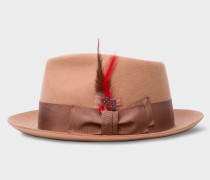 Tan Wool-Felt Trilby With Feather