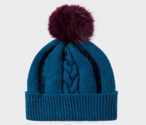 Petrol Blue Cable Knit Bobble Hat