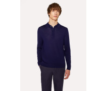 Dark Blue Merino Wool Long-Sleeve Polo Shirt