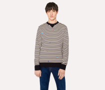 Peach And Black Stripe Sweatshirt With Embroidery Detail