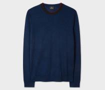 Navy Marl Merino-Wool Sweater With Contrast Collar