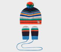 Baby Boys' Striped Zebra-Logo Hat And Mitten Set