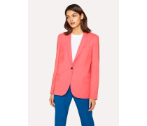 Coral Wool-Hopsack Blazer With 'Enso Floral' Lining