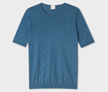Petrol Merino Wool And Silk-Blend Knitted T-Shirt