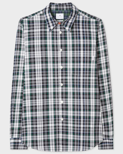 Tailored-Fit Green Check Shirt With Contrasting Back