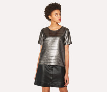 Short-Sleeved Metallic Top