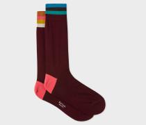 Burgundy 'Artist Stripe' Cuff Odd Socks