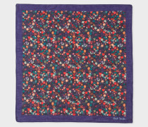 Dark Violet And Multi-Coloured Floral Print Pocket Square