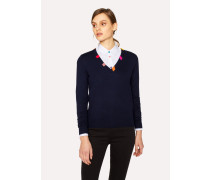 Navy Wool V-Neck Sweater With Striped Collar