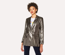 Metallic Double-Breasted Blazer