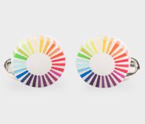 Gradient Stripe Edge Circular Cufflinks