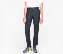 Mid-Fit Dark Grey Wool Mini-Check Trousers