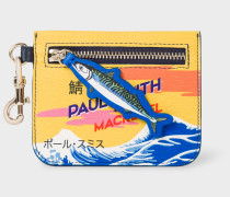 'Mackerel' Print Leather Small Zip-Pouch