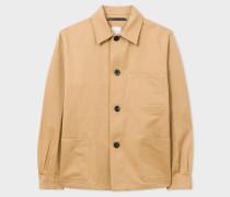 Tan Linen-Blend Chore Jacket