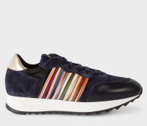Navy Leather And Suede 'Bold' Trainers