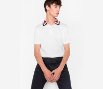 White Cotton Contrast Stripe-Collar Polo Shirt