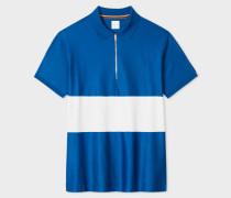 Blue Block-Stripe Zip Polo Shirt