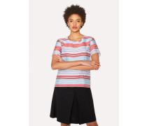 Striped Cotton-Blend Crew Neck Top