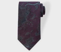Purple Embroidered Floral Pattern Silk Tie