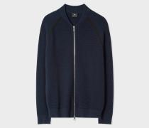 Navy Cotton Zip-Front Cardigan