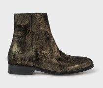 Black And Gold Metallic Suede 'Brooklyn' Boots