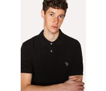 Black Embroidered Zebra Outline Organic Cotton-Piqué Polo Shirt