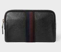 Black Leather 'City Webbing' Wash Bag