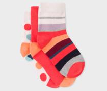 Girls' 2-6 Years' Multi-Colour 'Rainbow, Spot And Stripe' Sock Set